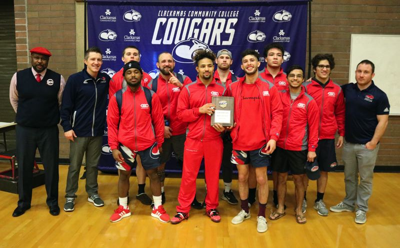 REVIEW/NEWS PHOTO: JIM BESEDA - Clackamas Community College won Sunday's NJCAA West Regional wrestling tournament and will send nine wrestlers to Feb. 23-24 national championships in Council Bluffs, Iowa.