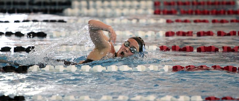 REVIEW PHOTO: MILES VANCE - Lakeridge senior Katie Manzione leaves the field behind to win the 200-yard freestyle at the Three Rivers League district meet on Saturday at Mt. Hood Community College Aquatic Center.