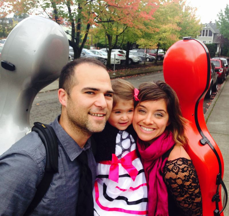COURTESY: OREGON SYMPHONY - Oregon Symphony cellists Trevor Fitzpatrick and Marilyn de Oliveira, with daughter Isla, are happily living and working together, and don't mind talking work at home. 'We're ready into the cello nerdy stuff,' says de Oliveira.