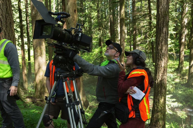 COURTESY: SCOTT GREEN - Michael McDonough, director of photography (left), and director Debra Granik film a scene for 'Leave No Trace,' a Portland-made film inspired by true events in Forest Park.