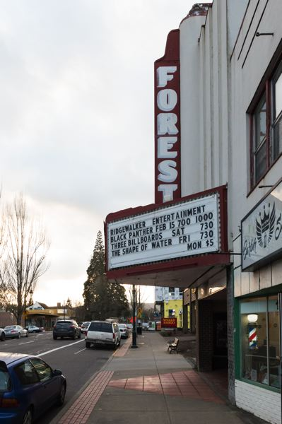 STAFF PHOTO: CHRISTOPHER OERTELL - Ridgewalker Entertainment is now displayed at the top of the Forest Theaters marquee. The two businesses continue to be separately owned, but they have joined forces for promotional purposes.