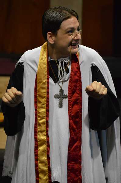 SPOKESMAN PHOTO: CLARA HOWELL  - Sophomore Kameron Koslowski is playing Reverend Canon Chasuble in 'The Importance of Being Earnest.'