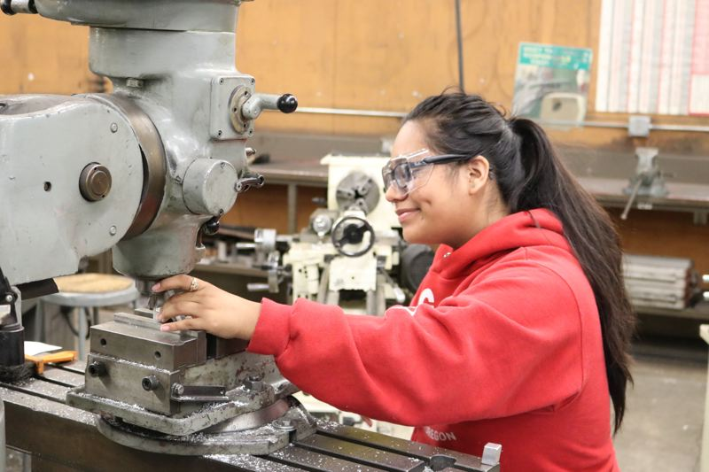 CONTIBUTED PHOTO: DARLYN CHESTER, REYNOLDS SCHOOL DISTRICT - A Reyolds metals student gets to work. A $200,000 grant from Bank of America to nonprofit group All Hands Raised will boost career and technical options at schools in East Multnomah County.