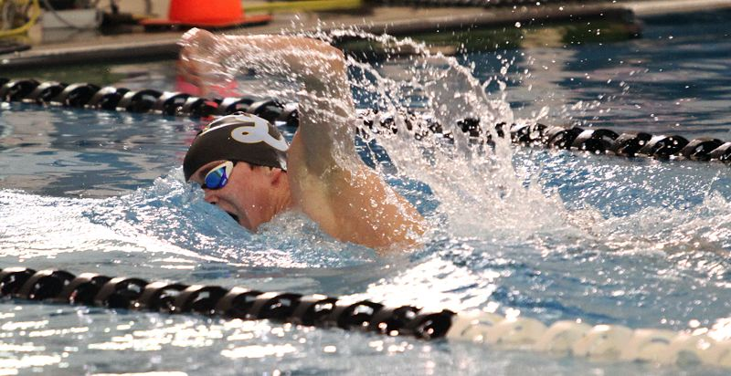 REVIEW PHOTO: MILES VANCE - Lakeridge sophomore Jay Heymann splashes to victory in the 500-yard freestyle at the Three Rivers League district swim meet at Mt. Hood Community College Aquatic Center on Saturday.