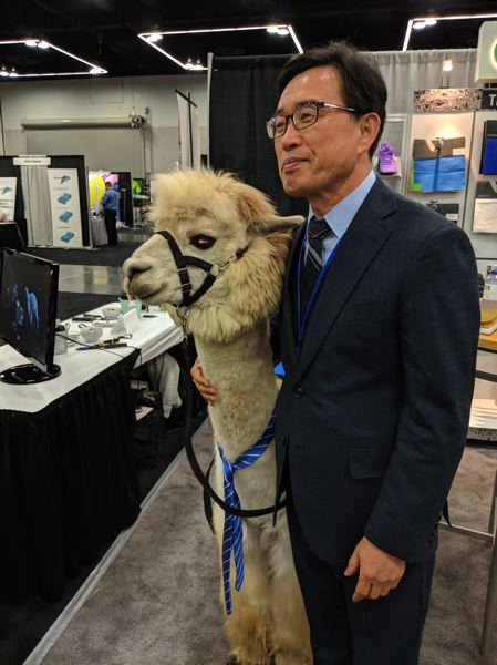 PAMPLIN MEDIA GROUP: JOSEPH GALLIVAN  - A show goer with a therapy alpaca which was there to show off the versatility of its wool.
