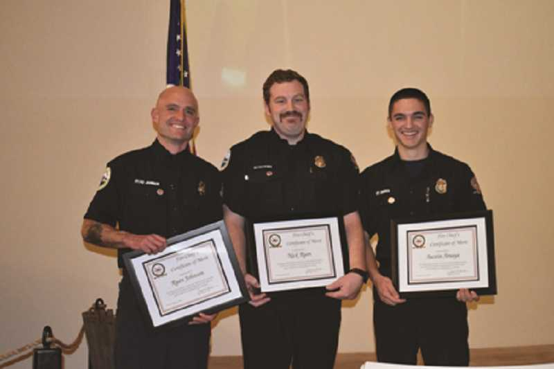 COURTESY PHOTO: WFD - Ryan Johnson, Nick Ryan and Austin Amaya were given the Fire Chief's Certificate of Merit.