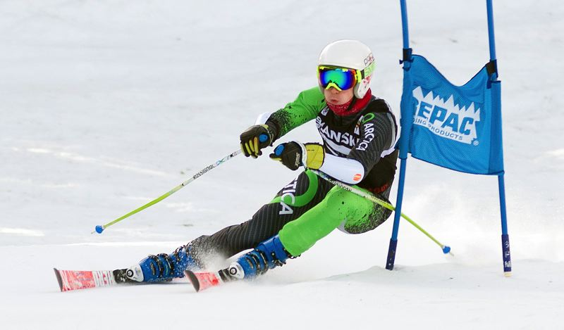COURTESY MIKE JULIANA PHOTOGRAPHY - Lakeridge's Connor Hilts skies to a second-place finish in the Three Rivers League giant slalom at Mt. Hood Meadows on Saturday.