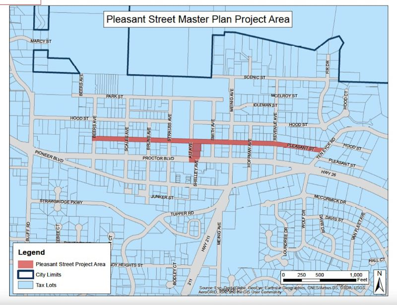 CONTRIBUTED PHOTO: CITY OF SANDY - Proposed concepts comprising the Pleasant Street Master Plan include burying utility lines in the area, realigning Alt Avenue with Shelley Avenue and integrating some kind of public art into the neighborhood to make it more appealing.