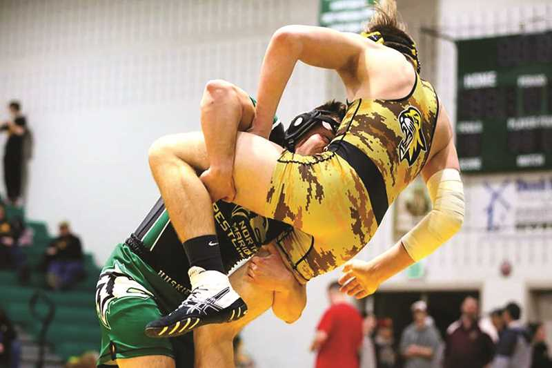 JO WHEAT - North Marion senior Matt Carrillo won his first district title on Saturday, defeating James Van Agtmael by 10-6 decision to qualify for the 2018 State Wrestling Championship. This marks Carrillo's third trip to state. Last year, Carrillo placed fourth overall in the 4A 182-pound bracket.