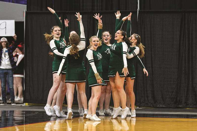 JONATHAN VILLAGOMEZ - The North Marion cheer team scored 133.20 points to finish sixth of 11 teams at the 2018 4A Cheer State Championships.
