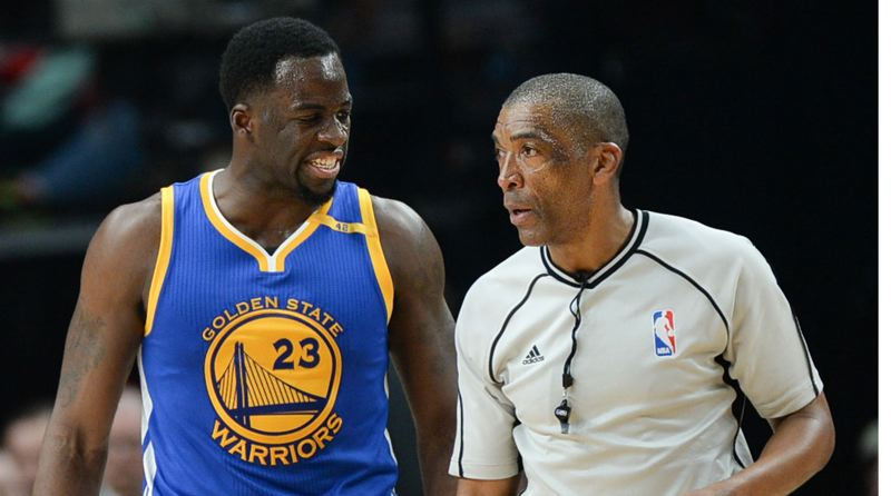 TRIBUNE FILE PHOTO: JOSH KULLA - Draymond Green of Golden State has a word with NBA official Leon Wood, who will be working the game on Wednesday at Moda Center between the Warriors and Trail Blazers.