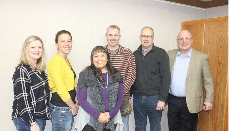 SUSAN MATHENY/MADRAS PIONEER - School District 509-J Board members are, from left, Courtney Snead, Jamie Hurd, Laurie Danzuka, Tom Norton Jr., Stan Sullivan, and Superintendent Ken Parshall.