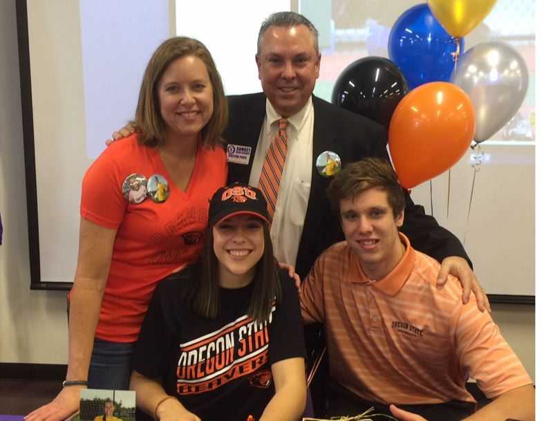 COURTESY PHOTO: KRISTI SKIBA - Sunset senior Bridgette Skiba, surrounded by mom, Kristi, dad, Phil, and brother, Hayden, signed with Oregon State University last week at Sunset High School.
