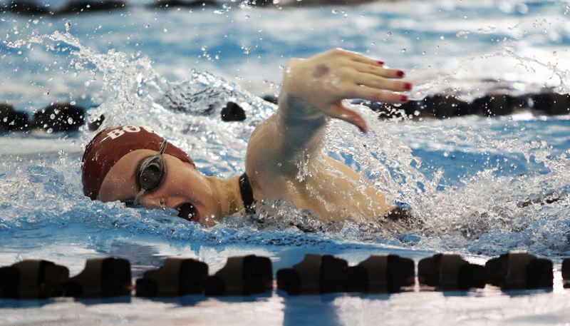 DAN BROOD - Sherwood sophomore Hunter Stewart swims in the 200-yard freestyle final at the Three Rivers League district swim championships.