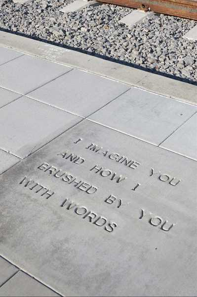 PHOTO COURTESY OF TRIMET - TriMet included short poetry engravings on sidewalks near the MAX Orange line in 2015, but Old Town leaders say their own contest was inspired by a set of poetry tiles installed in 2016 in Richfield, Minn., which featured comparatively longer poems.