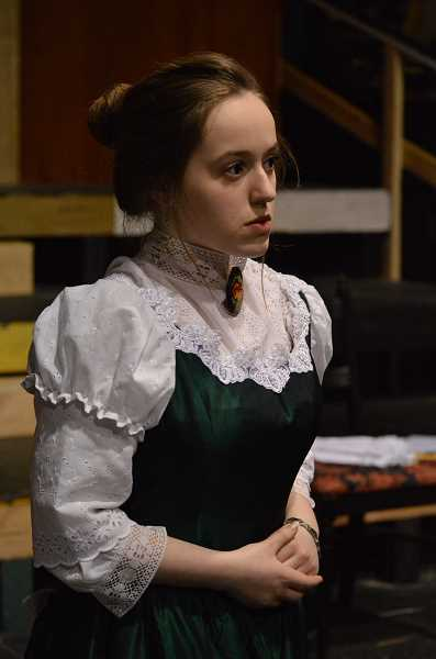 SPOKESMAN PHOTO: CLARA HOWELL - Sophomore Samantha Katz gets into her poised and proper role as Gwendolyn Fairfax.