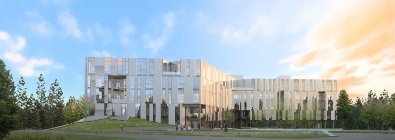 PAMPLIN MEDIA GROUP: FILE PHOTO - A rendering shows what the completed First Tech Credit Union in Hillsboro will look like: its slated to be the largest CLT building in the nation by square footage.
