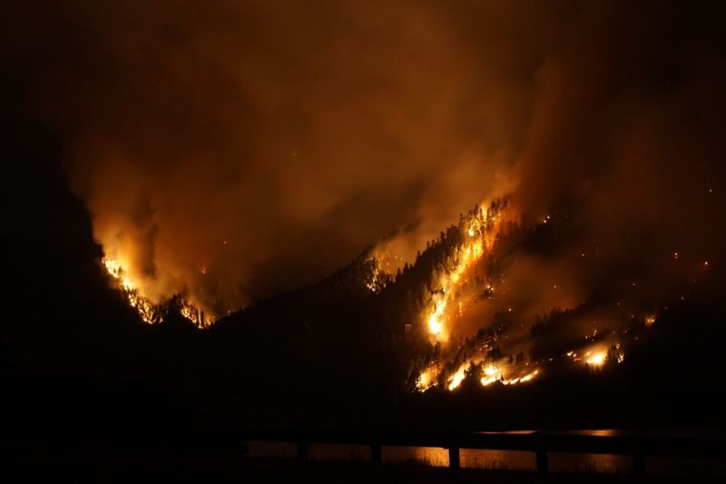 COURTESY PHOTO: BRIAN TAI/USFS - The Shellrock Mountain Lindsey Creek area ablaze during September's Eagle Creek Fire.