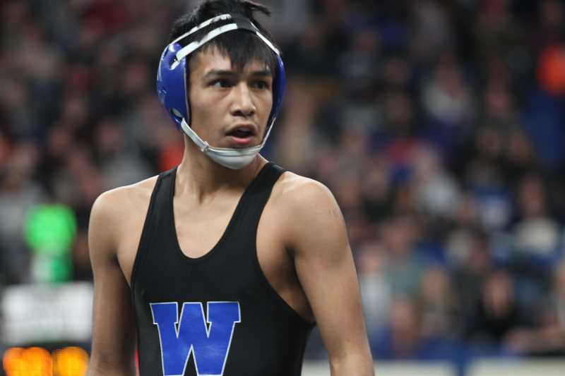 PHIL HAWKINS - Woodburn sophomore Wesley Vasquez upset No. 2-seed Caleb Wilde of Wilsonville on his way to a semifinal appearance in the 113-pound bracket of the 2018 5A State Wrestling Championships.
