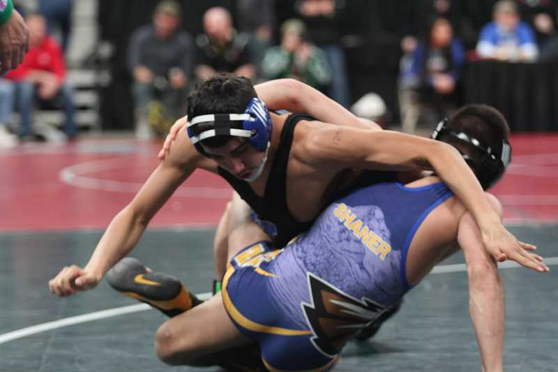 PHIL HAWKINS - Woodburn junior William Sandoval fell to defending state champion Jason SHaner in hte first round of the 5A 132-pound state bracket.