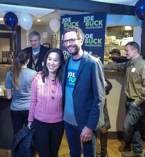REVIEW PHOTO: ANTHONY MACUK - Lake Oswego City Councilor Joe Buck stands with former West Linn City Councilor Jenni Tan, who has endorsed him in the race for the Metro Council District 2 seat.