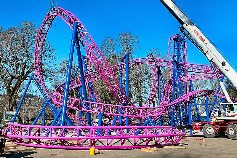 DAVID F. ASHTON - It wont be long until this ride is providing extreme thrills for guests to Oaks Amusement Park.