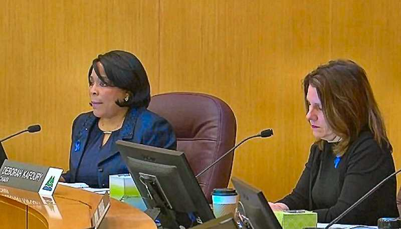 COURTESY OF KOIN-TV NEWS 6 - Here, listening to testimony, were Commissioner Loretta Smith and Chair Deborah Kafoury - before Smith voted no and Kafoury voted yes to lease a building on SE Foster Road for a by-reservation-only homeless shelter. The motion carried, 4 to 1.