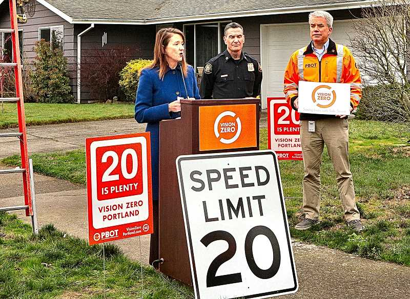 DAVID F. ASHTON - PBOT Director Leah Treat, PPB Traffic Division Captain Michael Crebs, and PBOT Public Information Officer Dylan Rivera, together hold a press conference to announce that the new, slower residential speed zone signs are being put into place.