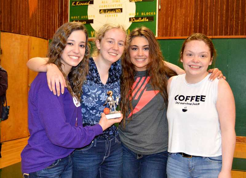 PIONEER PHOTO: CINDY FAMA - The Donkey Basketball championship team from left to right: Brooklyn Olsen, Morgan Ackermann, Janey Ethington and Tattum Allen.