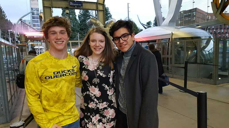 PHOTO COURTESY OF LAINIE MEAD - Students from Renaissance Public Academy recently delivered toys and money to cancer patients at Doernbecher Children's Hospital. From left to right, the students are Joe MacDonald, Lainie Mead and Dominic Robles.