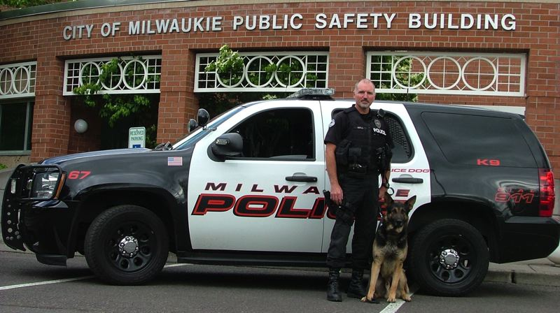 PHOTO COURTESY: CITY OF MILWAUKIE - The Milwaukie Public Safety Foundation raised and donated $13,750 for the purchase of Yago and the training for the new K-9 and Officer Les Hall in 2013.