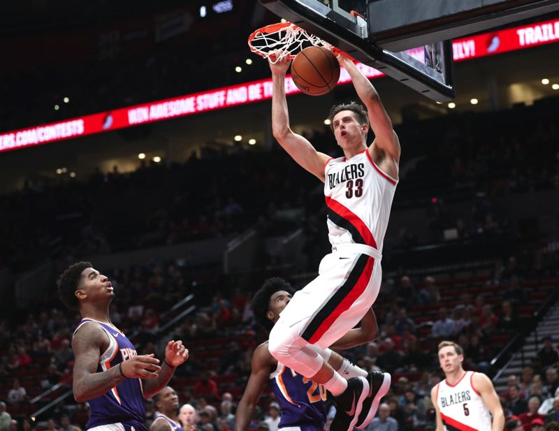 TRIBUNE PHOTO: JAIME VALDEZ - Rookie Zach Collins has seen limited playing time but worked his way into the Trail Blazers rotation, impressing coaches and fellow players with his attitude and confidence.