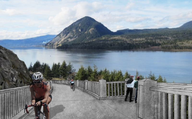 CONTRIBUTED PHOTO - Bikers zip through an artistic rendering of the Summit Creek viaduct.
