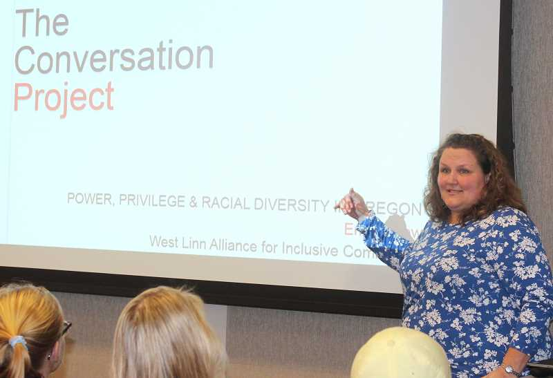 TIDINGS PHOTOS: PATRICK MALEE - Willamette University Professor Emily Drew led more than 70 people through discussions about racism and diversity during a Conversations Project hosted by the West Linn Alliance for Inclusive Community Saturday, Feb. 17.