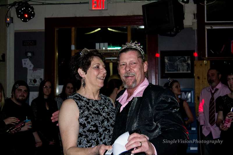 CONTRIBUTED PHOTO: LARRY CUTLER - DeDe and Chuck Brittle of The Mason Jar were named prom king and queen at the Trails Inn Cafe and Timber Room prom on Saturday, Feb. 27.