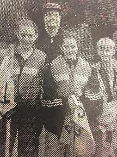 ARCHIVE PHOTO - In 1998, students Mia Wortel, Venissa Smith, Matt Warkentin and education asisstant Kim Lougheed were involved with the  Safety Crossing Patrol program at Estacada Grade School.