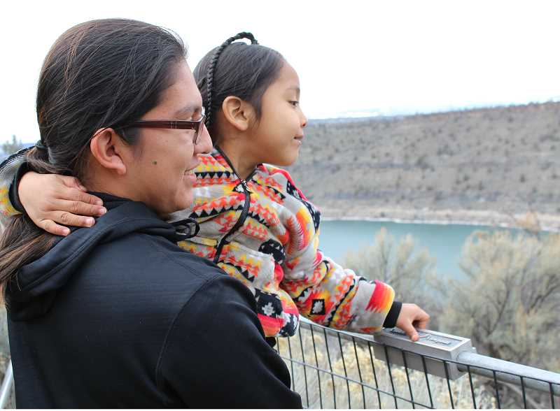 HOLLY M. GILL - Frank and JoeRay Stwyer take in the views from Round Butte Overlook Park at last year's Eagle Watch. This year's event will be held Saturday and Sunday, Feb. 24 and 25.
