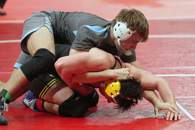 REVIEW PHOTO: MILES VANCE - Lakeridge junior Jonas Crowder went 3-2 in five matches at 170 pounds during the Class 6A state wrestling tournament at Veterans Memorial Coliseum on Friday and Saturday.