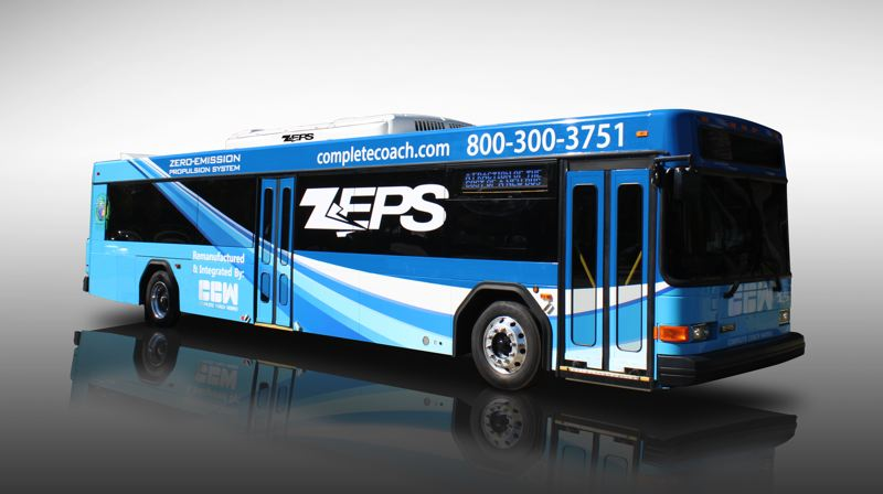 CONTRIBUTED PHOTO: COMPLETE COACH WORKS - Sandy Transit Director Andi Howell has ordered a demonstration of an electric bus for March 1. The bus will run the Estacada route at 7 a.m. and 10:30 a.m. and the SAM Gresham route at 8 a.m. and 9:30 a.m. Community members are encouraged to take a ride and provide feedback.