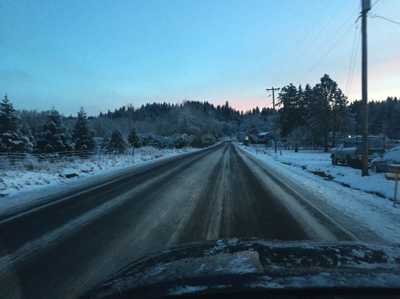 CONTRIBUTED PHOTO: JOE SCHWAB - An icy Highway 211 is pictured Wednesday, Feb. 21.