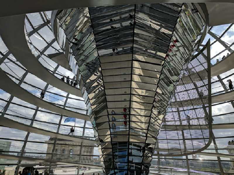 PHOTO CREDIT: TYLER THAYER - The interior of the Reichstag, which houses the German Parliament.