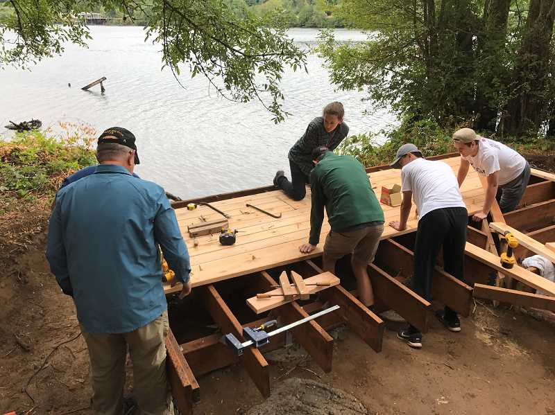 SUBMITTED PHOTO: JAKE BRUMBAUGH - With the help of fellow Scouts and community members, West Linn resident Jake Brumbaugh was able to build a new viewing platform at Willamette Park, clearing the way for him to become an Eagle Scout.