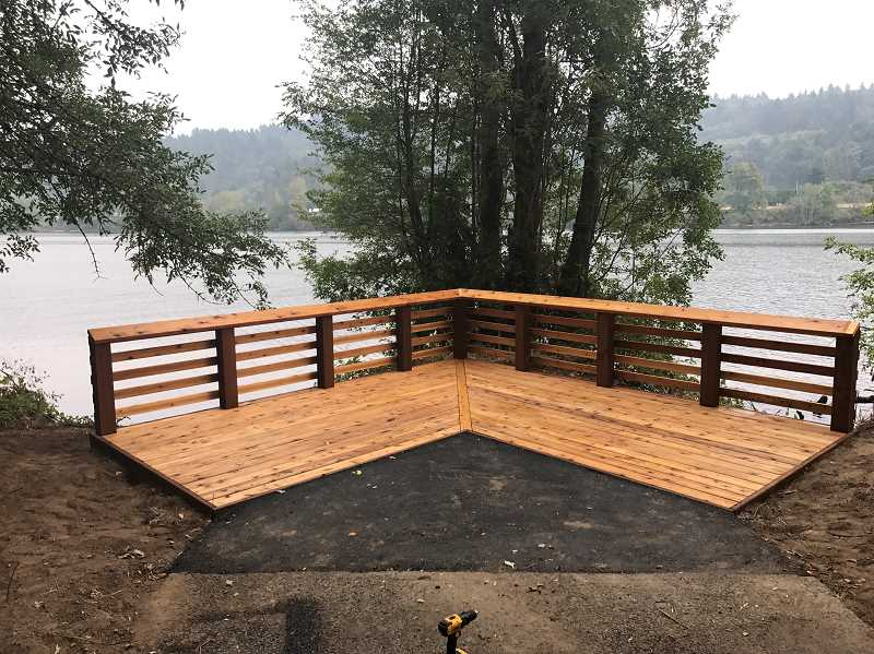 SUBMITTED PHOTO: JAKE BRUMBAUGH - Brumbaugh was shocked and pleased when it took just two days to build the new viewing platform at Willamette Park.