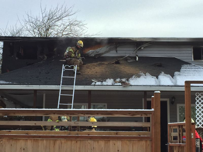 PHOTO COURTESY OF COLUMBIA RIVER FIRE AND RESCUE - Columbia River Fire and Rescue crews responded to a house fire on North 6th Street in St. Helens on Wednesday, Feb. 21. The fire displaced four people who were renting the home.