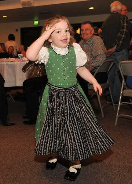 Summer McVey shows her polka moves as Oregon Polka Beats plays.