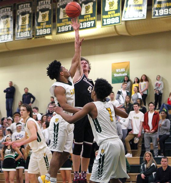 PAMPLIN MEDIA GROUP PHOTO: MILES VANCE - Sherwood senior Nic Koronko lofts a shot toward the basket during his team's 62-51 loss at West Linn on Friday night.