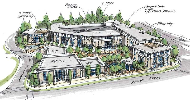 PHOTO COURTESY OF CENTERCAL PROPERTIES - CenterCal's updated plans for the Providence Mercantile Center now include 225 apartments and no longer feature a 45,000-square-foot grocery store.