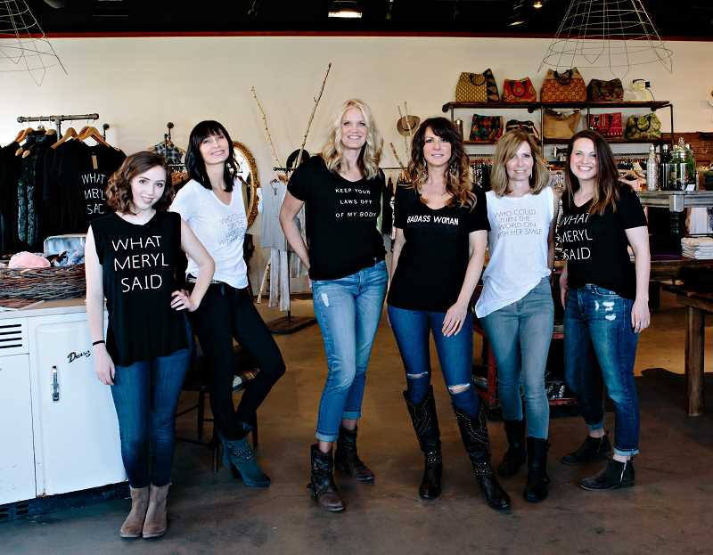 SUBMITTED PHOTOS  - The executive team of Brave Collective includes sales associates Elli Hobbs (from left) and Lisa Clark; owner Jennifer Riker; Melissa Adams, general sales manager; sales associate Gracia Mahan; and Felicia Barth, lead designer and assistant buyer.