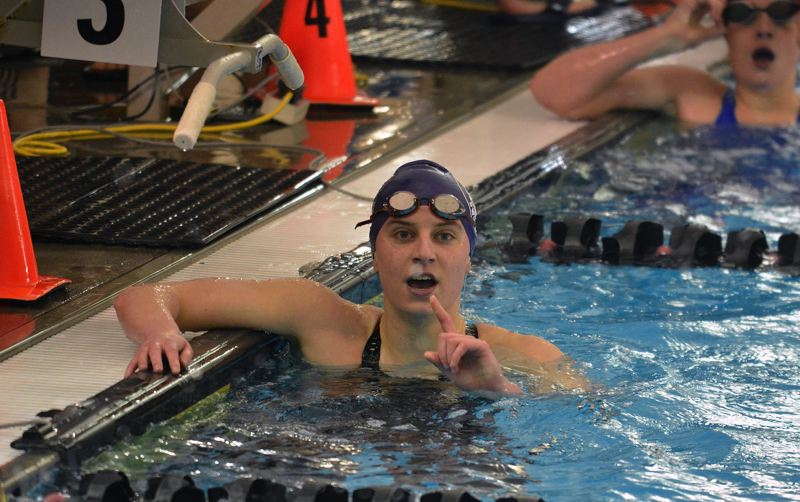 TIMES PHOTO: MATT SINGLEDECKER - Sunset senior Alayna Connor won the 100 yard freestyle at the Class 6A state championship meet.
