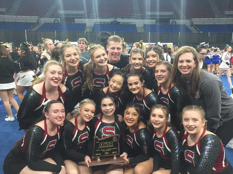 COURTESY: MINDI ARMATAS - The entire Sherwood High School cheerleading team participated in the Feb. 10 state championships.